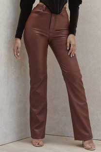 Brown Fashion Casual Solid High Waist Straight Trousers