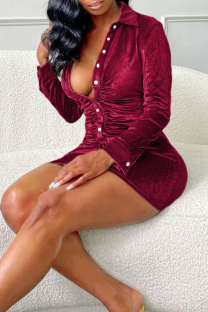 Burgundy Fashion Sexy Solid Buttons Turndown Collar Long Sleeve Dresses