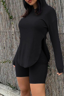 Black Fashion Casual Solid Slit Hooded Collar Long Sleeve Two Pieces