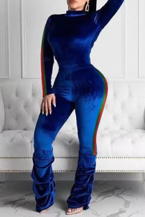 Blue Fashion Casual Solid Split Joint Half A Turtleneck Long Sleeve Two Pieces