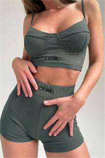 Green Sexy Sportswear Solid Split Joint Backless Two-piece Set