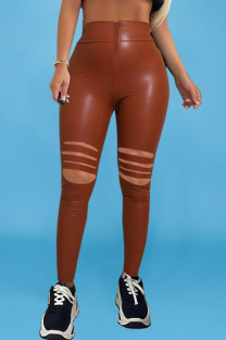 Brown Street Solid Ripped Split Joint Regular High Waist Pencil Solid Color Bottoms
