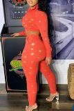 Tangerine Red Sexy Solid Ripped Turndown Collar Long Sleeve Two Pieces
