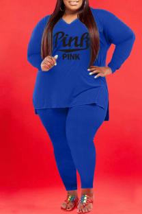 Blue Fashion Casual Letter Print Slit V Neck Plus Size Two Pieces