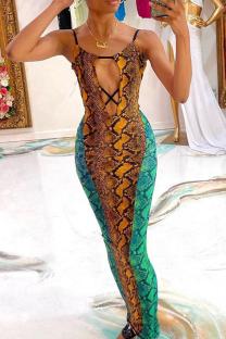 Colour Sexy Print Split Joint Spaghetti Strap Pencil Skirt Dresses
