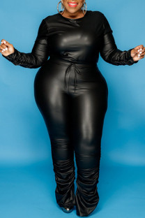 Black Fashion Casual Solid Basic O Neck Plus Size Two Pieces
