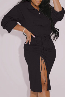Black Fashion Casual Solid Slit Fold Long Sleeve Two Pieces