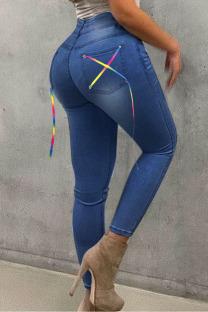 Medium Blue Street Solid Split Joint Frenulum High Waist Skinny Denim Jeans