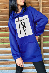 Blue Fashion Casual Print Split Joint Hooded Collar Tops