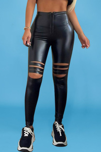 Black Street Solid Ripped Split Joint Regular High Waist Pencil Solid Color Bottoms