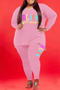 Pink Fashion Casual Letter Print Basic V Neck Plus Size Two Pieces