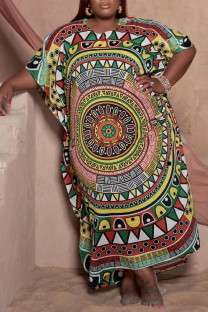 Colour Fashion Casual Plus Size Print Basic O Neck Long Dress