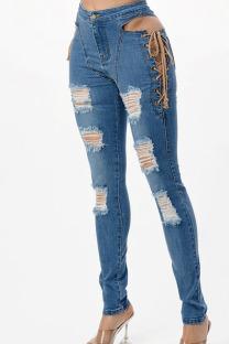 Dark Blue Fashion Street Solid Ripped Bandage High Waist Denim Jeans
