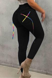 Black Street Solid Split Joint Frenulum High Waist Skinny Denim Jeans