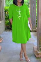Green Casual Print Split Joint O Neck Cake Skirt Dresses