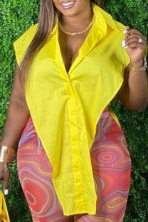 Yellow Fashion Street Solid Split Joint Turndown Collar Plus Size Tops