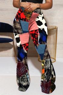 Multicolor Fashion Casual Print Basic Regular High Waist Speaker Trousers