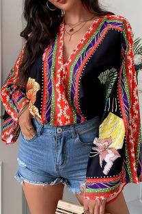 Black Fashion Casual Print Split Joint V Neck Tops