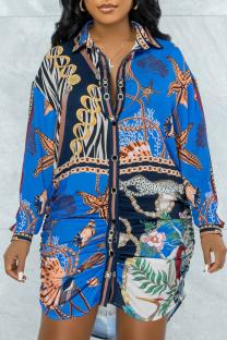 Multicolor Casual Print Split Joint Turndown Collar Shirt Dress Dresses