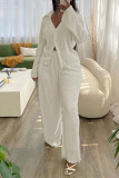 Apricot White Fashion Casual Solid Basic Turndown Collar Long Sleeve Two Pieces