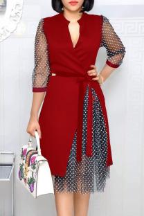 Red Fashion Street Polka Dot Split Joint V Neck A Line Dresses