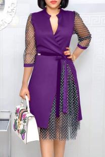 Purple Fashion Street Polka Dot Split Joint V Neck A Line Dresses