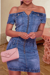 The cowboy blue Fashion Street Solid Split Joint Off the Shoulder Short Sleeve Denim Dresses