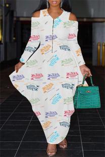 White Fashion Casual Print Split Joint Zipper V Neck Long Sleeve Dresses