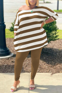 Brownness Fashion Casual Striped Print Basic O Neck Plus Size Two Pieces