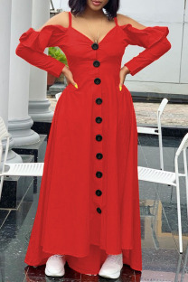 Red Casual Sweet Solid Split Joint Buckle Flounce Spaghetti Strap Sling Dress Dresses