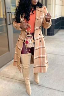 Multicolor Fashion Street Plaid Split Joint Turndown Collar Outerwear