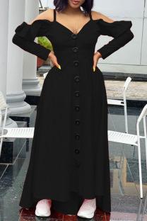 Black Casual Sweet Solid Split Joint Buckle Flounce Spaghetti Strap Sling Dress Dresses