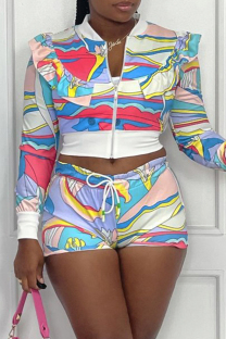 Colour Fashion Casual Print Split Joint Zipper Collar Long Sleeve Two Pieces