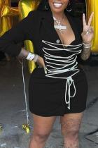 Black Casual Work Solid Bandage Split Joint Buckle Turn-back Collar A Line Dresses