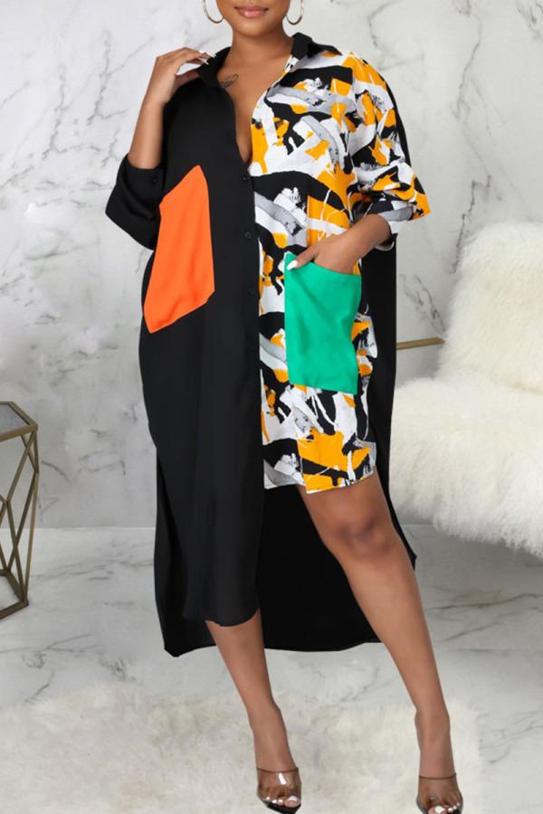 Yellow Fashion Sexy Print Split Joint Turndown Collar Irregular Dresses