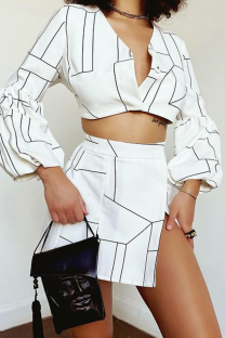 White Sexy Print Split Joint V Neck Long Sleeve Two Pieces