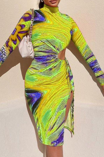 Yellow Sexy Print Hollowed Out Half A Turtleneck Pencil Skirt Dresses