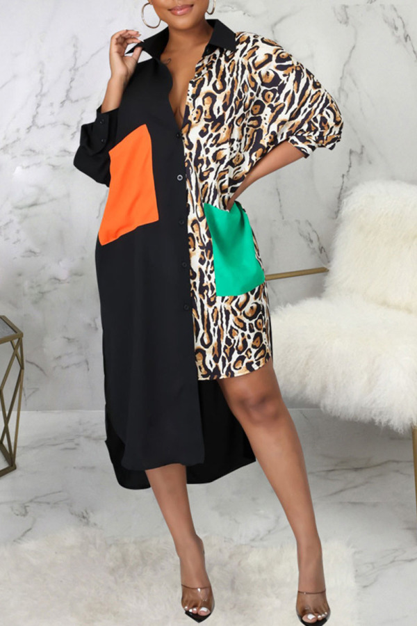 Leopard Print Fashion Sexy Print Split Joint Turndown Collar Irregular Dresses