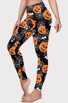 Black Halloween Fashion Casual Basic Print High Waist Skinny Trousers