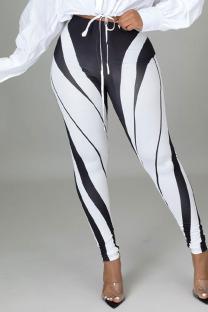Black White Sexy Print Split Joint Skinny High Waist Pencil Positioning Print Bottoms