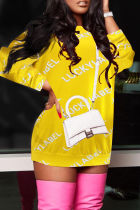 Yellow Fashion Casual Letter Print Basic O Neck Long Sleeve Dresses