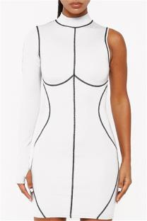 White Fashion Sexy Patchwork Asymmetrical Half A Turtleneck Long Sleeve Dresses