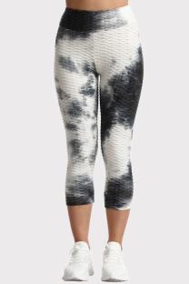 Black White Casual Sportswear Tie Dye Printing High Waist Skinny Trousers