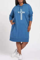 Blue Casual Print Split Joint Hooded Collar Long Sleeve Dresses