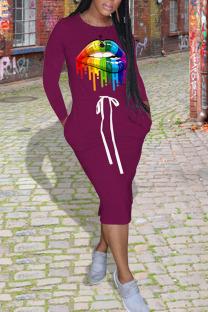 Purple Casual Print Split Joint Pocket Frenulum O Neck One Step Skirt Dresses