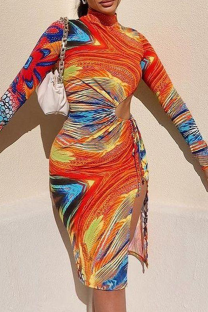 Tangerine Red Sexy Print Hollowed Out Half A Turtleneck Pencil Skirt Dresses