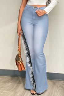 Light Blue Fashion Street Solid Split Joint Plus Size Jeans