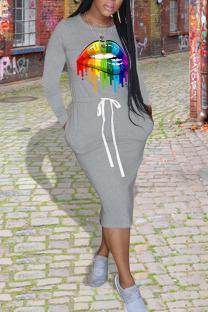 Grey Casual Print Split Joint Pocket Frenulum O Neck One Step Skirt Dresses