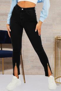Black Fashion Street Solid Slit Plus Size Jeans