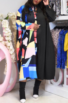 Black Casual Print Split Joint Turndown Collar Straight Dresses